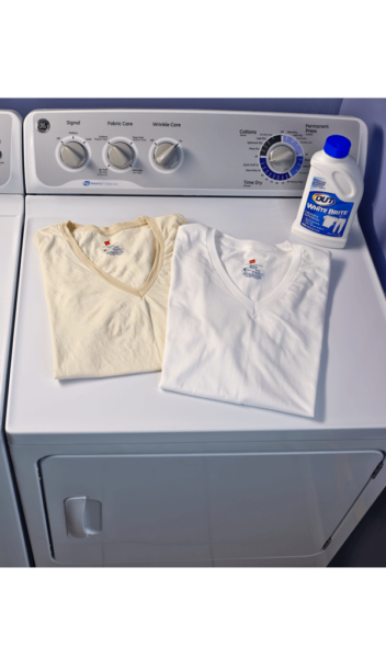 OUT® White Brite® Laundry Whitener package on washer beside yellow and white before and after t-shirts