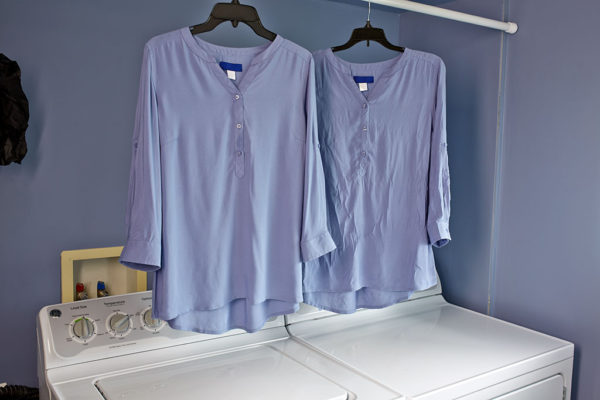Before After blouses hanging Woolite Home Dry Cleaning Kit