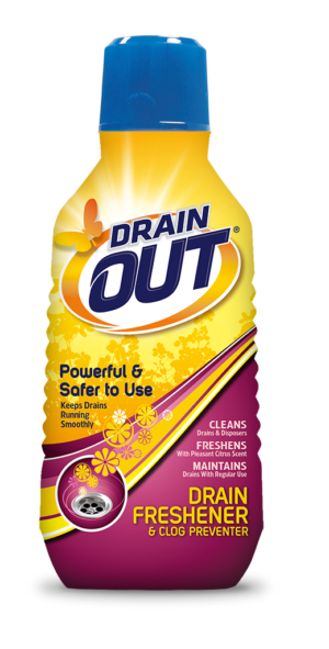 Drain OUT Drain Freshener & Clog Preventer Package Front; 16 fl oz; SKU DOF01B