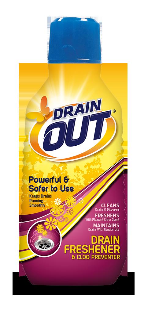 Drain OUT Drain Freshener & Clog Preventer Package Front; 16 fl oz; SKU DOF01B