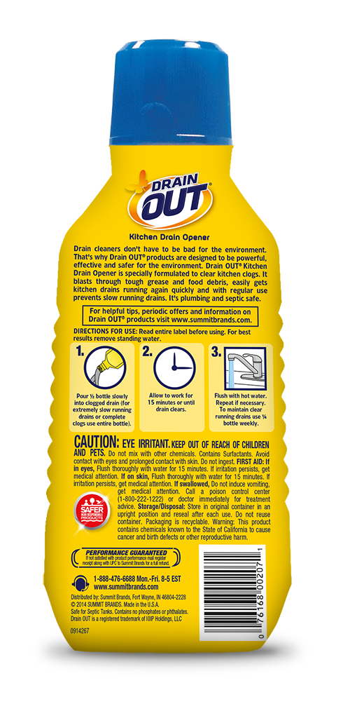 Drain OUT Kitchen Drain Opener & Clog Remover Package Back; 16 fl oz; SKU DOK01B