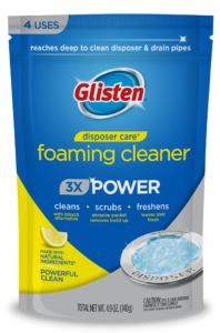 Glisten Disposer Care - Foaming Garbage Disposal Cleaner Package Front; SKU DP01T-PB