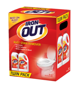 Iron OUT Rust Stain Remover Powder Package Front Angle; Twin Pack; SKU IO124P