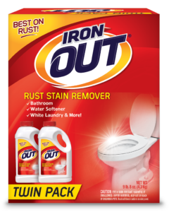 Iron OUT Rust Stain Remover Powder Package Front; Twin Pack; SKU IO124P