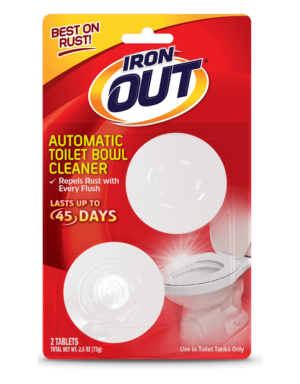Iron OUT® Automatic Toilet Bowl Cleaner 2-use Package Front; SKU AT01C