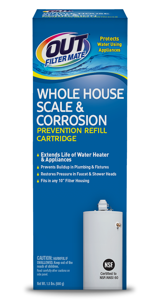 OUT Filter Mate Scale & Corrosion Prevention Cartridge Package Front - For Hard Water Buildup; SKU SC01R