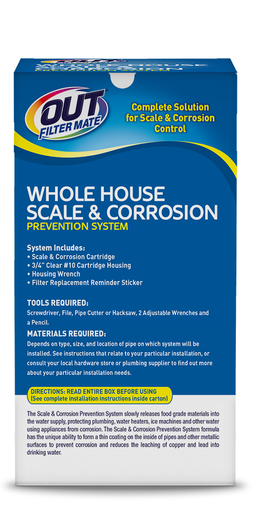 OUT Filter Mate Scale & Corrosion Prevention System Package Back - For Hard Water Buildup; SKU SC01B