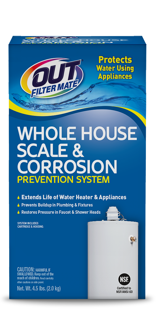 OUT Filter Mate Scale & Corrosion Prevention System Package Front - For Hard Water Buildup; SKU SC01B