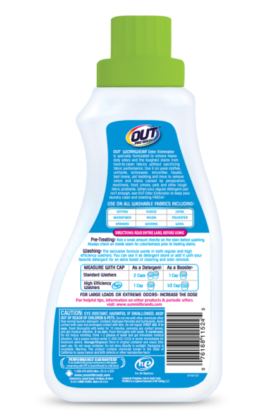 OUT ProWash Workwear Odor Eliminator Detergent Clothes Deodorizer Package Back; SKU OE01B