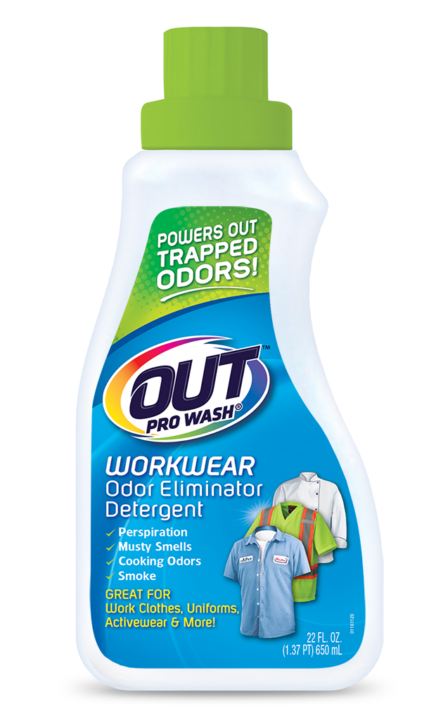 OUT ProWash Workwear Odor Eliminator Detergent Clothes Deodorizer Package Front; SKU OE01B