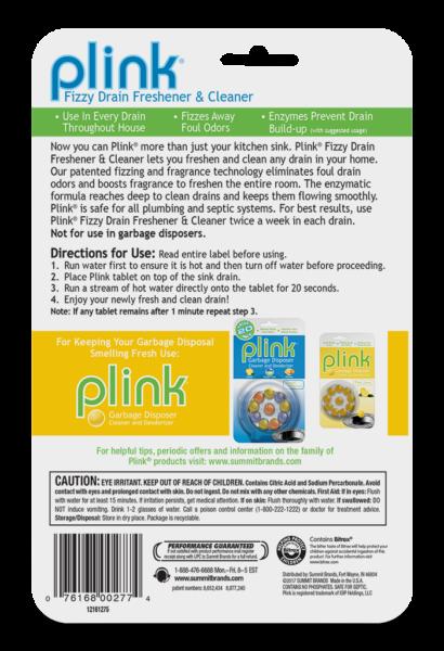 Plink Fizzy Drain Freshener & Cleaner Simply Fresh Package Back; 12 use; SKU PDFSF01B