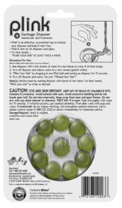 Plink Garbage Disposal Freshener & Cleaner Simply Fresh Package Back; 20 use; SKU PSF01B