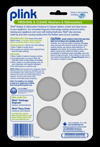 Plink Washing Machine & Dishwasher Freshener & Cleaner Fresh Package Back; 4 use; SKU PAL01B