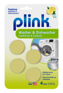 Plink Washing Machine & Dishwasher Freshener & Cleaner Fresh Lemon Package Front; 4 use; SKU PAL01B