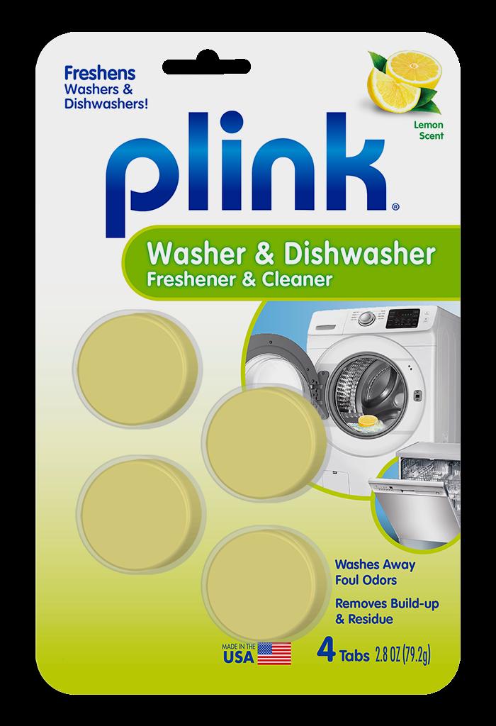 Plink Washing Machine & Dishwasher Freshener & Cleaner Fresh Lemon Package Front; 4 use; SKU PAL01B