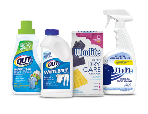 Woolite and OUT Laundry Solutions product packages
