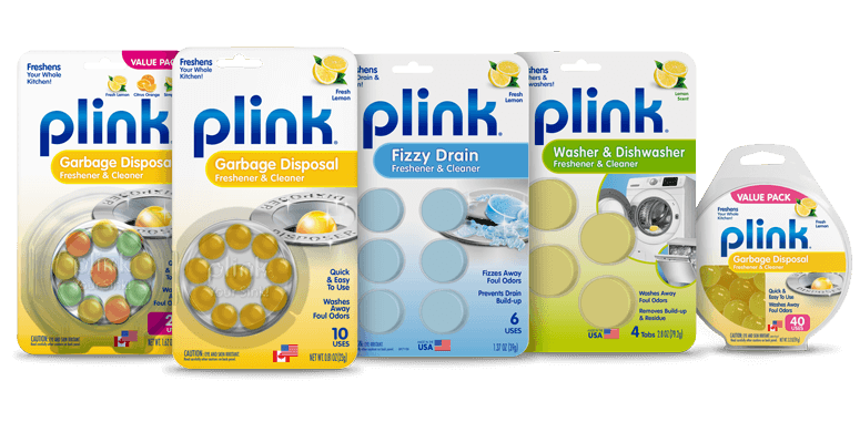 Plink garbage disposal freshener & cleaner product packaging lineup
