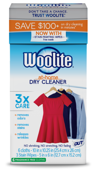 Woolite At-Home Dry Cleaner Fragrance Free Package Side; 6 cloth; SKU DCSFF01B