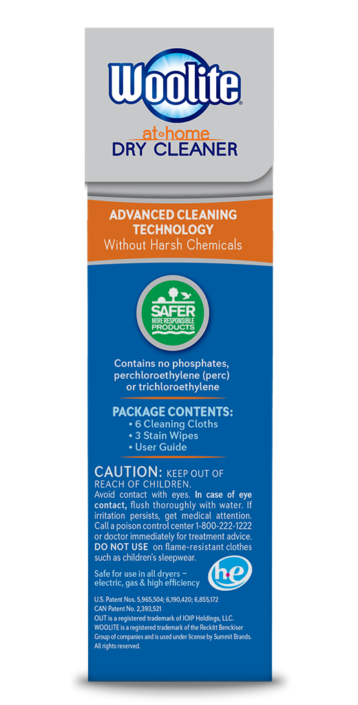 Woolite At-Home Dry Cleaner Fresh Scent Package Side; 6 cloth; SKU DCS01B