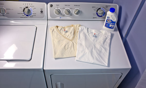 Before and After of yellowed T-Shirt with White Brite Laundry Whitener