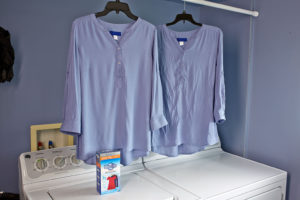 Before and After of blouses with Woolite Home Dry Cleaning Kit