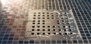 Clean stainless steel floor drain