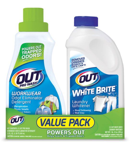 Out Laundry Value Pack Prowash Workwear Odor Eliminator Detergent And White Brite Whitener