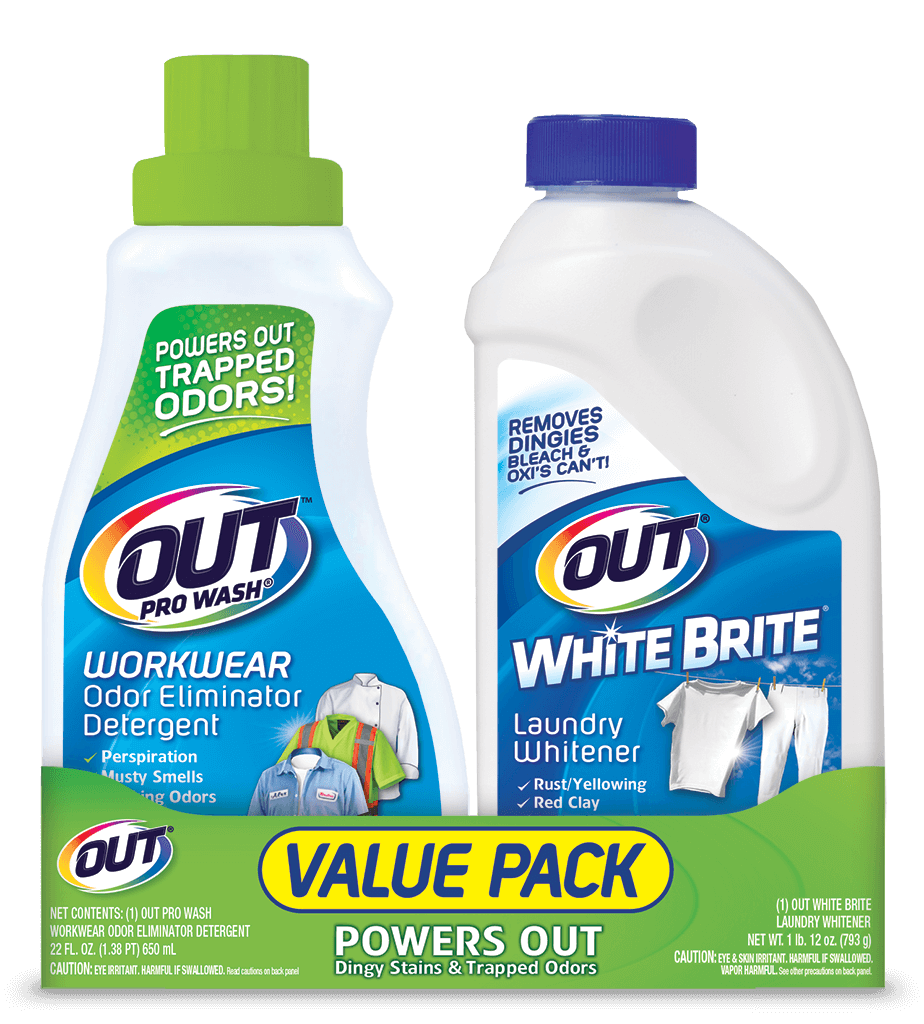 OUT Laundry value pack - ProWash Workwear Odor Eliminator Detergent and White Brite Laundry Whitener