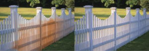 Picket Fence rust stain Before and After using iron out rust stain remover