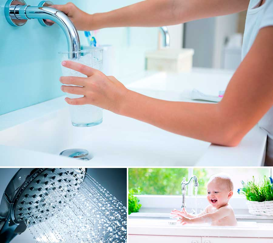 3 images of families using clean water around the home