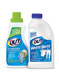 OUT Laundry product packages - ProWash Workwear Odor Eliminator and White Brite Laundry Whitener