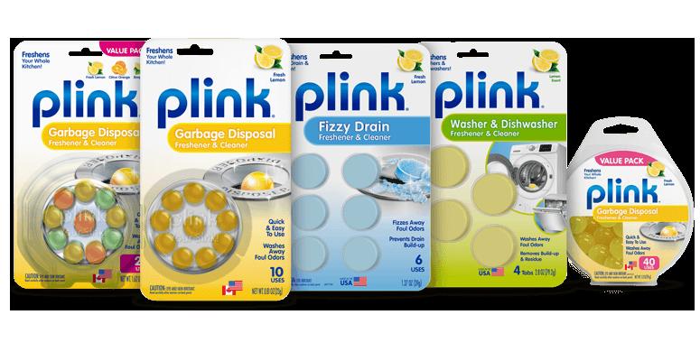 Plink garbage disposal freshener & cleaner product packaging lineup