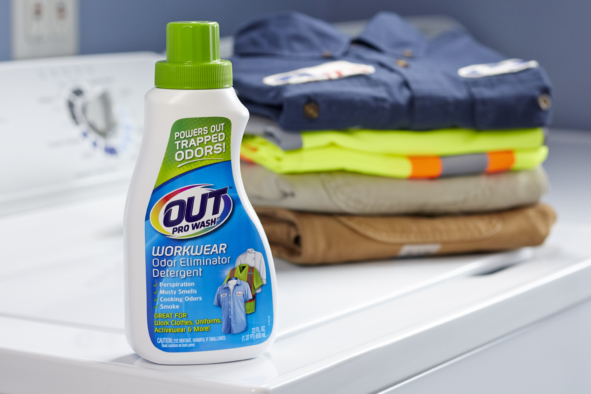 detergent and clean folded clothes